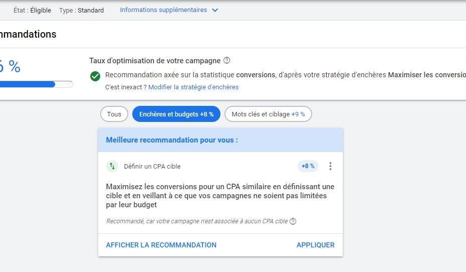 Recommandation Google Ads