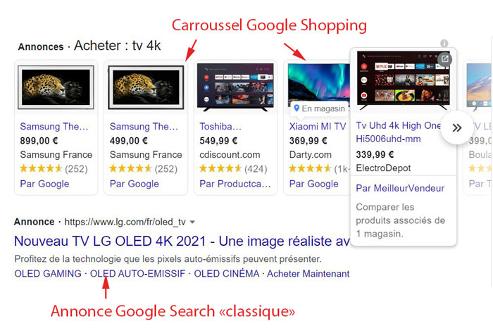 Annonces Google Shopping