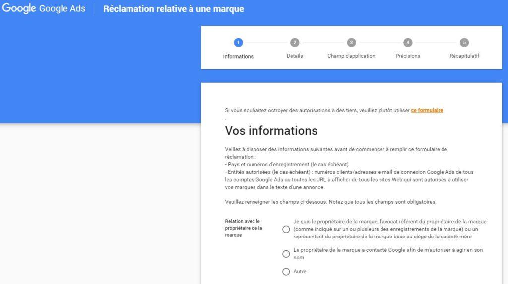 Réclamation Google